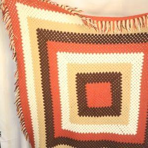 Vintage 50 in Square Crochet Knit Fringed Afghan